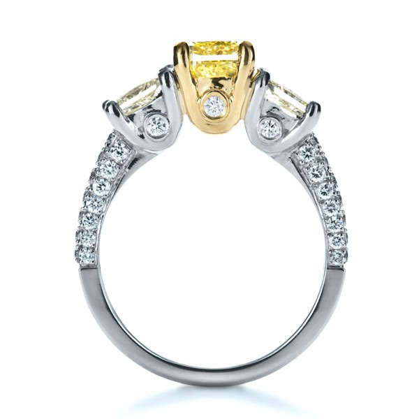 Custom Three Stone Canary Diamond Engagement Ring - Finger Through View