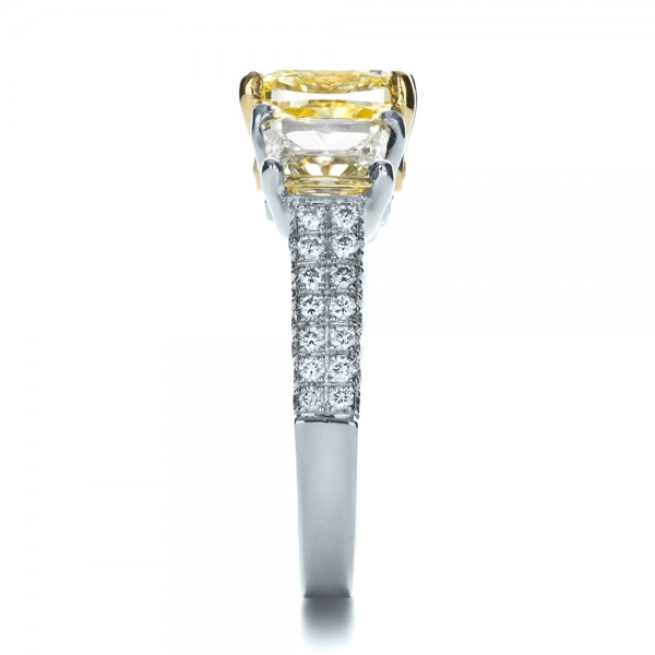 Custom Three Stone Canary Diamond Engagement Ring - Side View