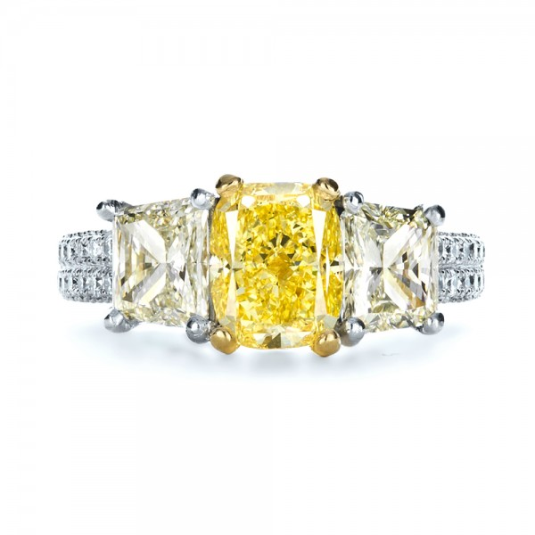Custom Three Stone Canary Diamond Engagement Ring - Top View