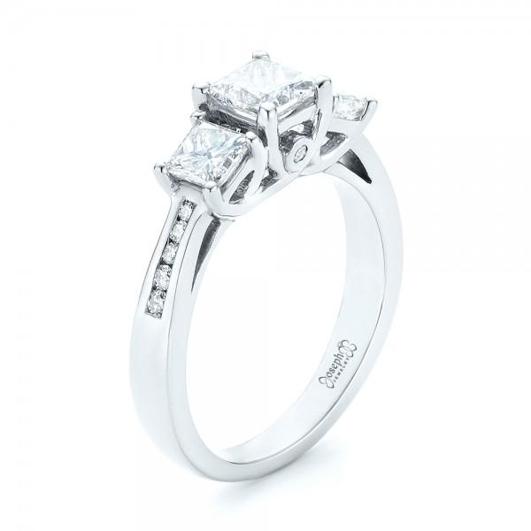 Custom Rose Gold Three Stone Blue Sapphire And Diamond