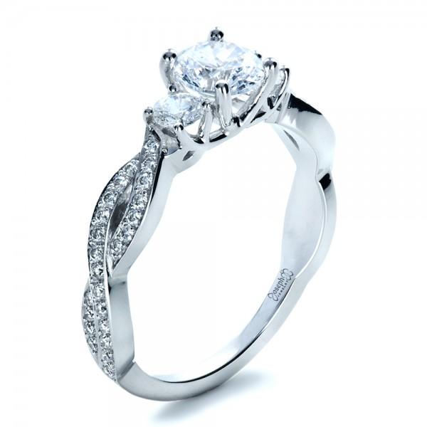Engagement Rings Custom Three Stone Diamond Engagement Ring
