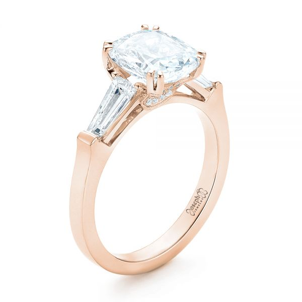14k Rose Gold 14k Rose Gold Custom Three Stone Diamond Engagement Ring - Three-Quarter View -  102964