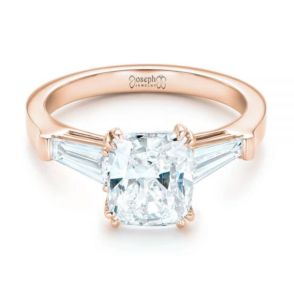 14k Rose Gold 14k Rose Gold Custom Three Stone Diamond Engagement Ring - Flat View -  102964
