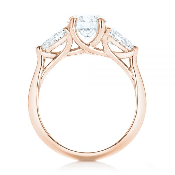 18k Rose Gold 18k Rose Gold Custom Three Stone Diamond Engagement Ring - Front View -