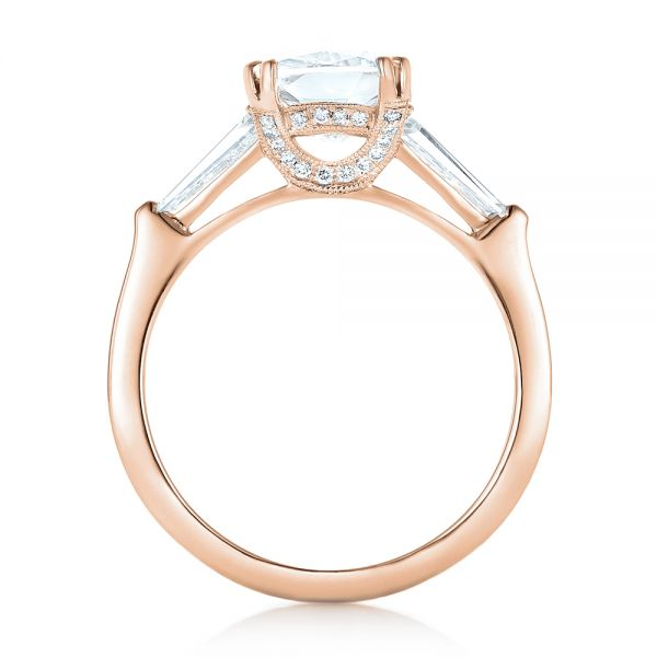 14k Rose Gold 14k Rose Gold Custom Three Stone Diamond Engagement Ring - Front View -  102964