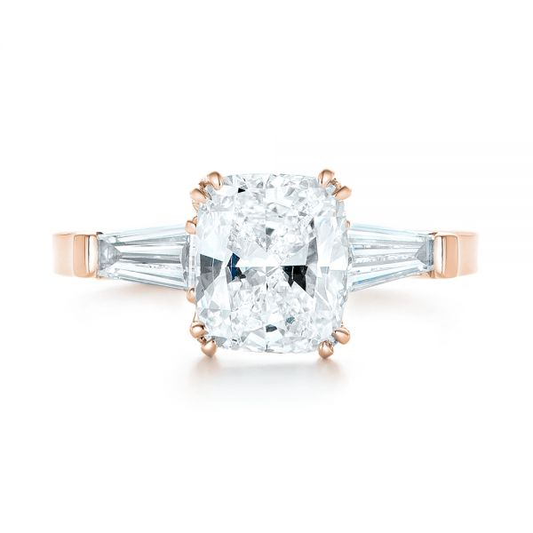 14k Rose Gold 14k Rose Gold Custom Three Stone Diamond Engagement Ring - Top View -  102964