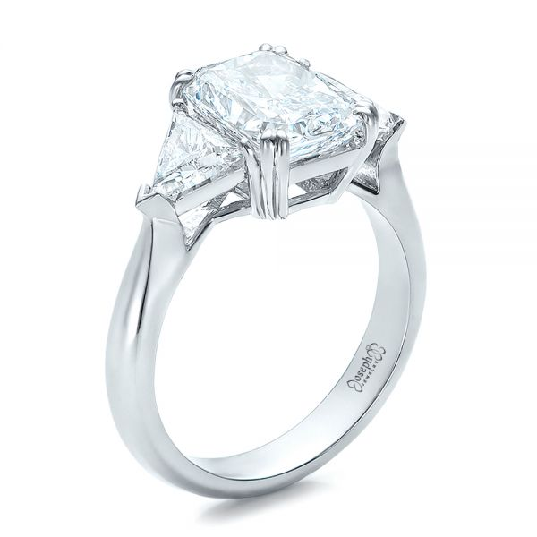Platinum Custom Three Stone Diamond Engagement Ring - Three-Quarter View -