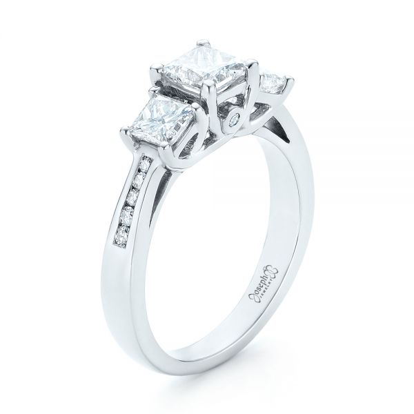 Custom Three Stone Diamond Engagement Ring - Image