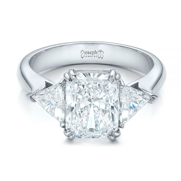 Platinum Custom Three Stone Diamond Engagement Ring - Flat View -