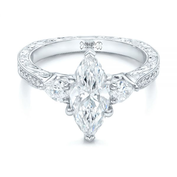 Custom Three Stone Diamond Engagement Ring - Flat View -  102353 - Thumbnail