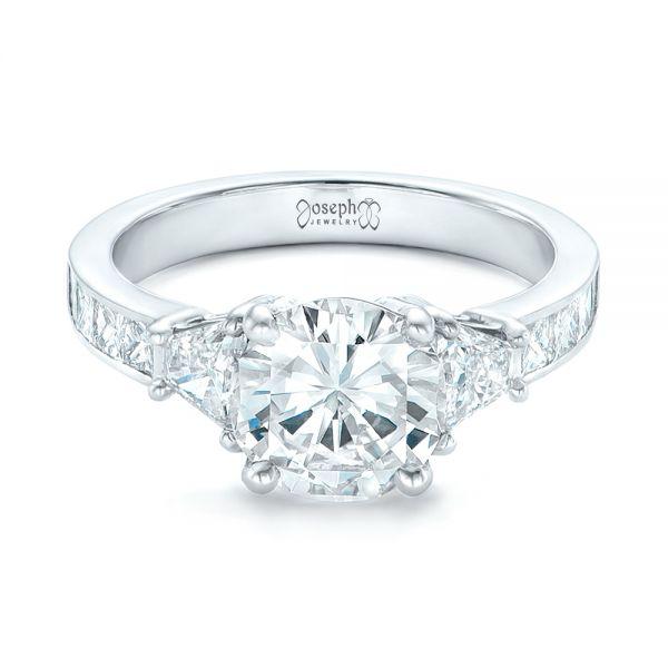 Custom Three Stone Diamond Engagement Ring 102807