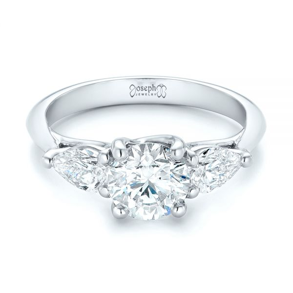 Custom Three Stone Diamond Engagement Ring - Flat View -  102898 - Thumbnail