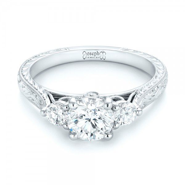 Custom Three Stone Diamond Engagement Ring - Flat View -  103009 - Thumbnail