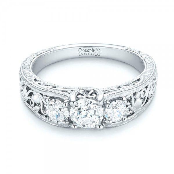 Custom Three Stone Diamond Engagement Ring 103426