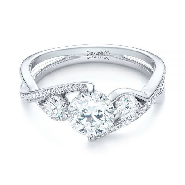 Custom Three Stone Diamond Engagement Ring - Flat View -  103655 - Thumbnail