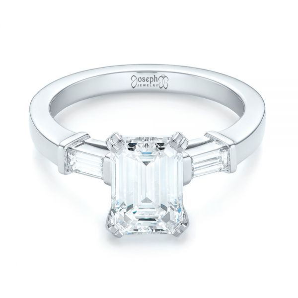 Custom Three Stone Diamond Engagement Ring - Flat View -  103866 - Thumbnail