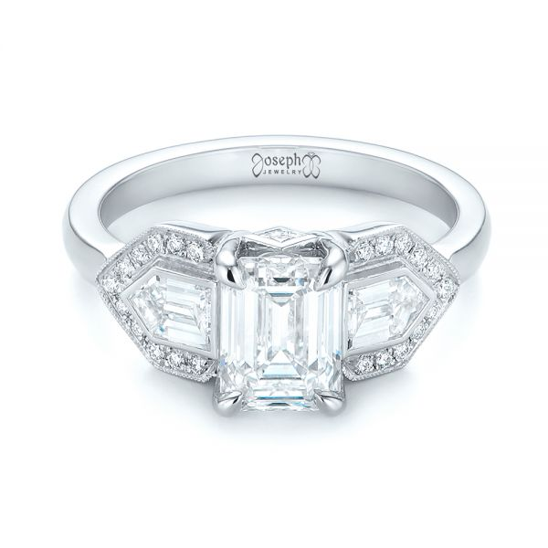 Platinum Custom Three Stone Diamond Engagement Ring - Flat View -  104830