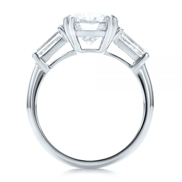 Platinum Custom Three Stone Diamond Engagement Ring - Front View -