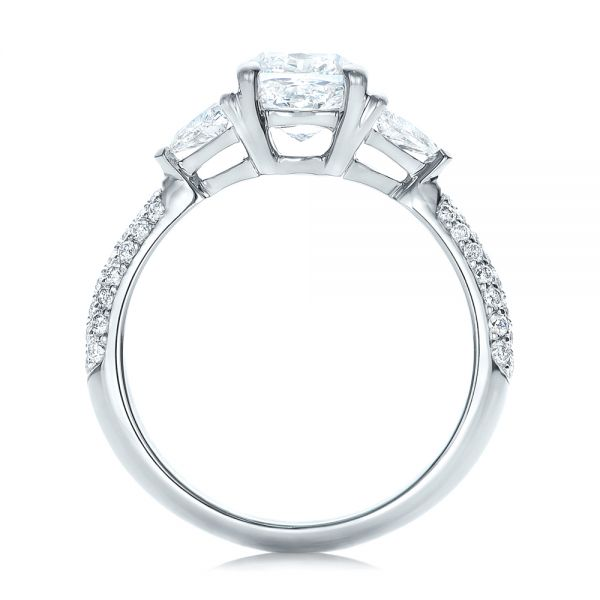 Custom Three Stone Diamond Engagement Ring - Front View -  102091 - Thumbnail