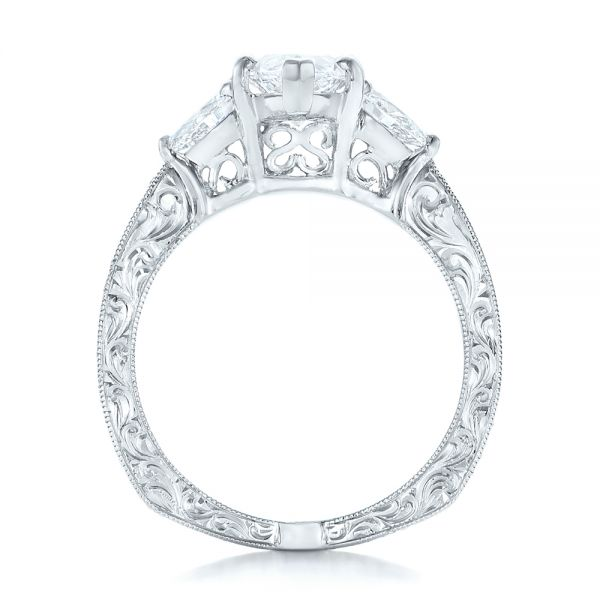 Custom Three Stone Diamond Engagement Ring - Front View -  102353 - Thumbnail