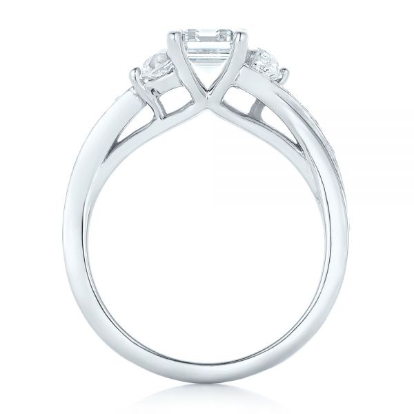Custom Three Stone Diamond Engagement Ring - Front View -  102391 - Thumbnail