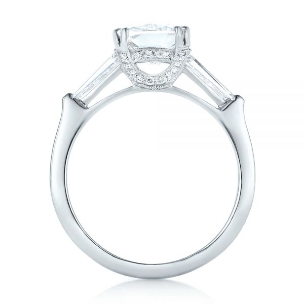 18k White Gold 18k White Gold Custom Three Stone Diamond Engagement Ring - Front View -  102964