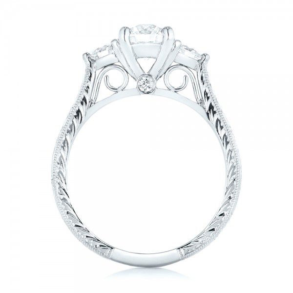 Custom Three Stone Diamond Engagement Ring - Front View -  103009 - Thumbnail