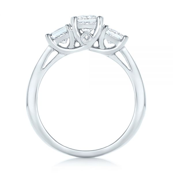 Custom Three Stone Diamond Engagement Ring - Front View -  103135 - Thumbnail