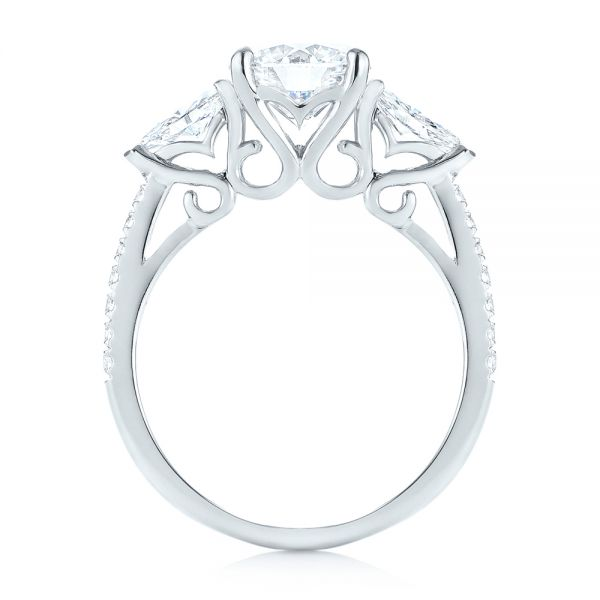 Custom Three Stone Diamond Engagement Ring - Front View -  103354 - Thumbnail
