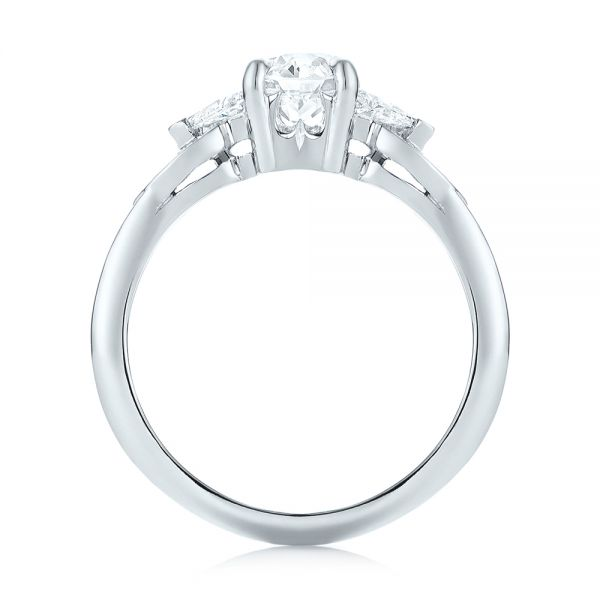 Custom Three Stone Diamond Engagement Ring - Front View -  103839 - Thumbnail