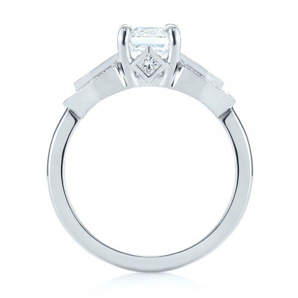 Platinum Custom Three Stone Diamond Engagement Ring - Front View -  104830