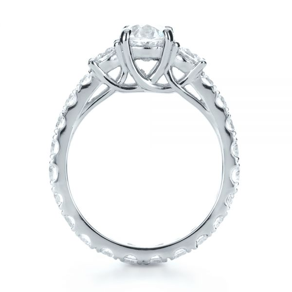 Custom Three Stone Diamond Engagement Ring - Front View -  1129 - Thumbnail