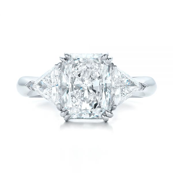 Platinum Custom Three Stone Diamond Engagement Ring - Top View -