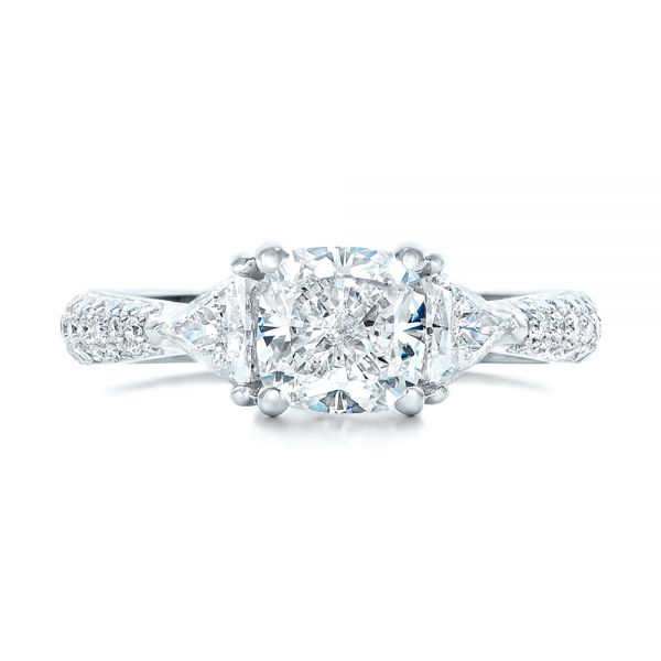 Custom Three Stone Diamond Engagement Ring - Top View -  102091 - Thumbnail