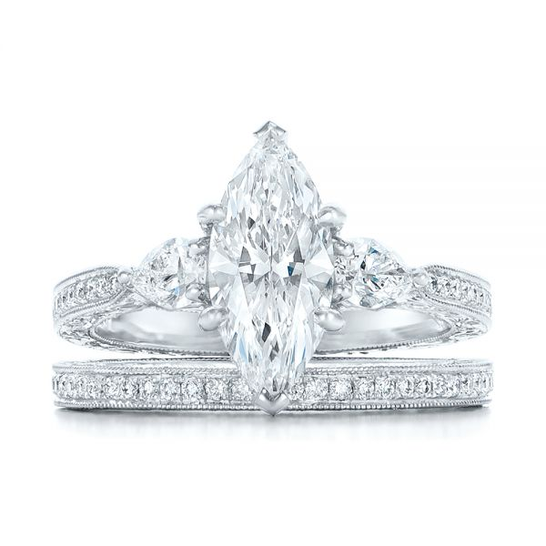 Custom Three Stone Diamond Engagement Ring - Top View -  102353 - Thumbnail