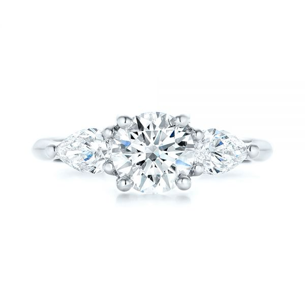 Custom Three Stone Diamond Engagement Ring - Top View -  102898 - Thumbnail