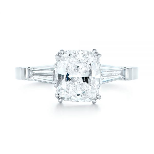 18k White Gold 18k White Gold Custom Three Stone Diamond Engagement Ring - Top View -  102964