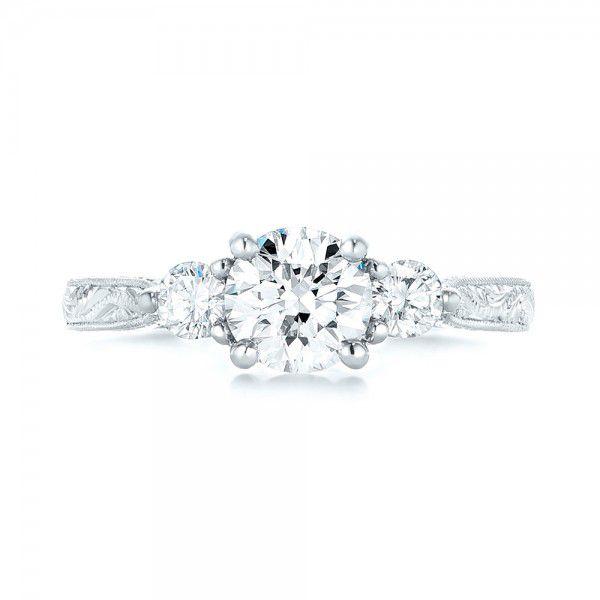 Custom Three Stone Diamond Engagement Ring - Top View -  103009 - Thumbnail