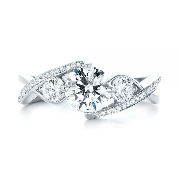 Custom Three Stone Diamond Engagement Ring - Top View -  103655 - Thumbnail