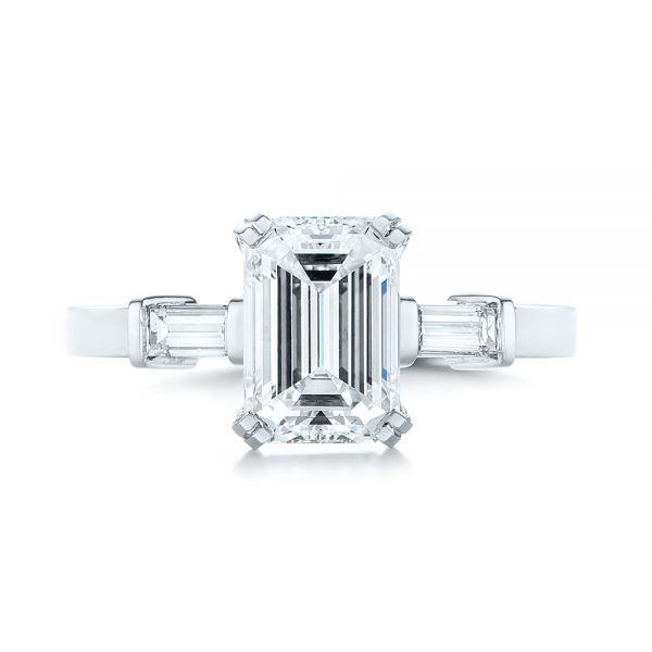 Custom Three Stone Diamond Engagement Ring - Top View -  103866 - Thumbnail