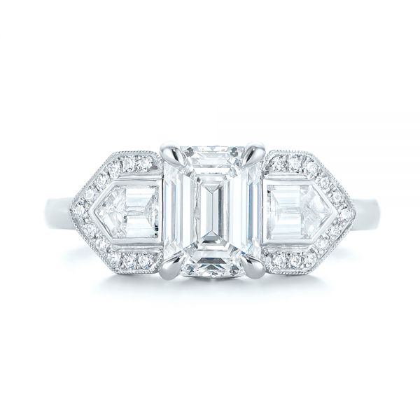 Platinum Custom Three Stone Diamond Engagement Ring - Top View -  104830