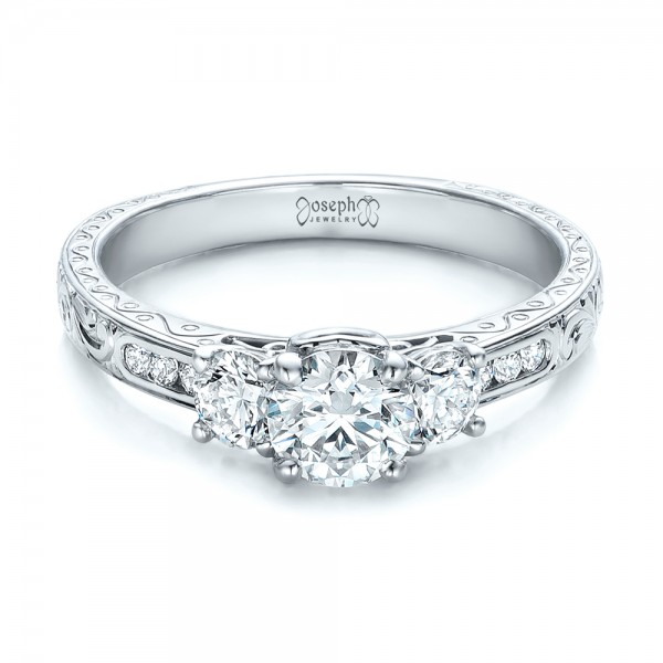 Custom Three-Stone Diamond Engagement Ring
