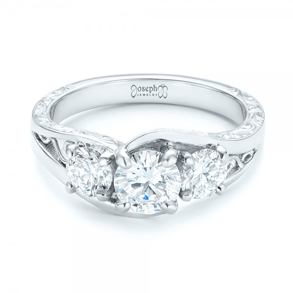 Custom Three Stone Diamond Engagement Ring - Laying View