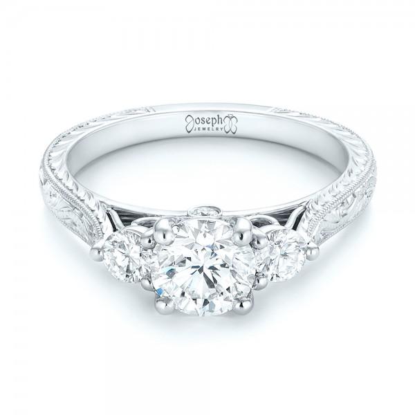 custom three stone diamond engagement ring 103009 - Three Stone Wedding Rings