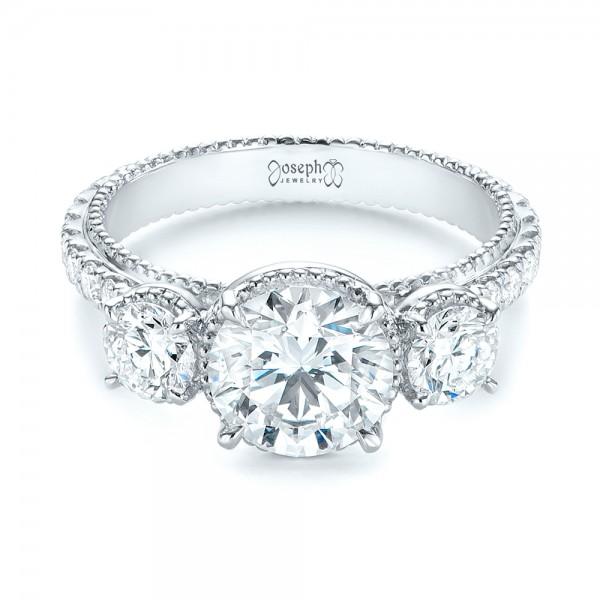 Custom Three-Stone Diamond Engagement Ring - Laying View