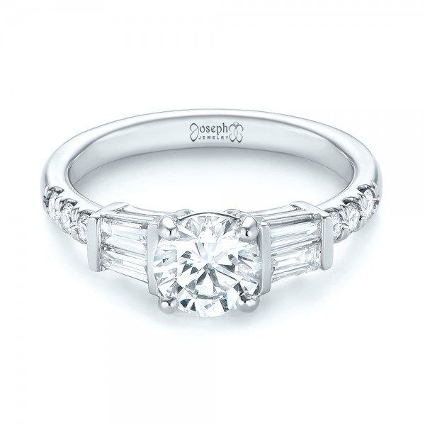 Platinum Custom Diamond Engagement Ring - Flat View -  103521
