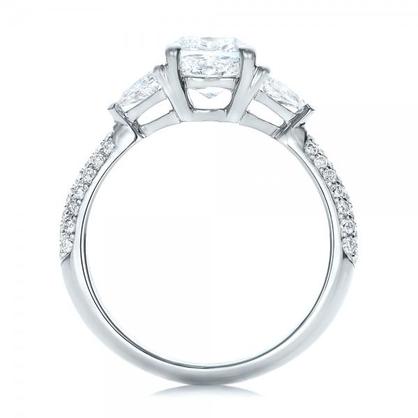 Custom Three Stone Diamond Engagement Ring - Finger Through View