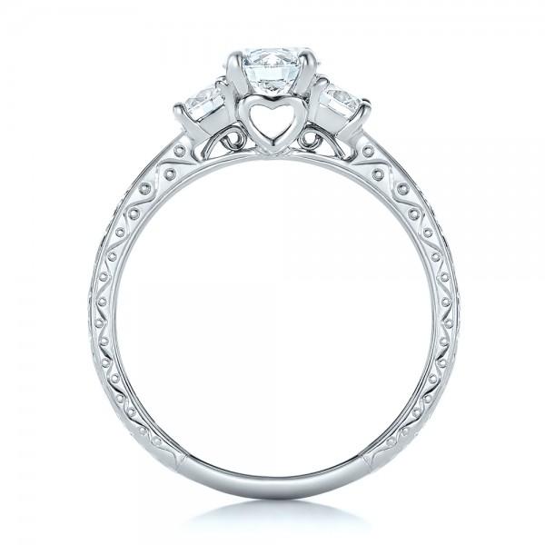 Custom Three-Stone Diamond Engagement Ring - Finger Through View
