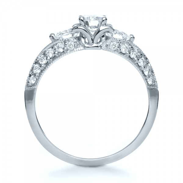 Custom Three Stone Diamond Engagement Ring - Front View -  1119 - Thumbnail