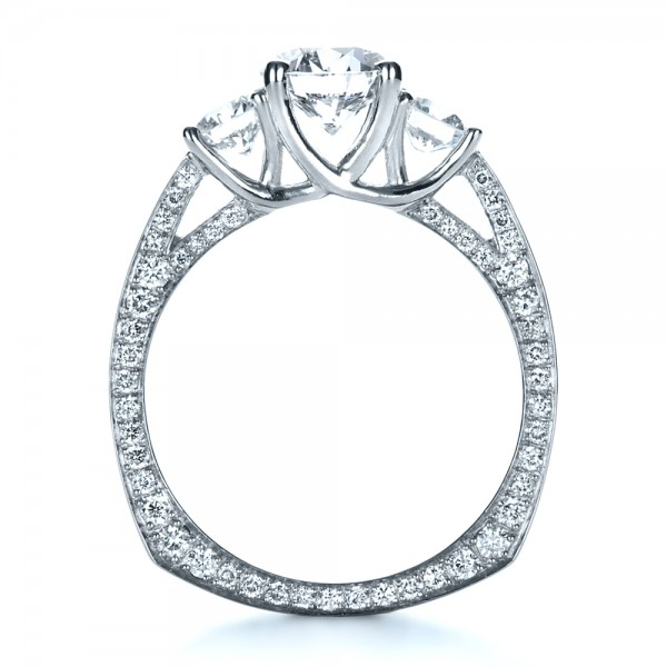 Custom Three Stone Diamond Engagement Ring - Front View -  1393 - Thumbnail